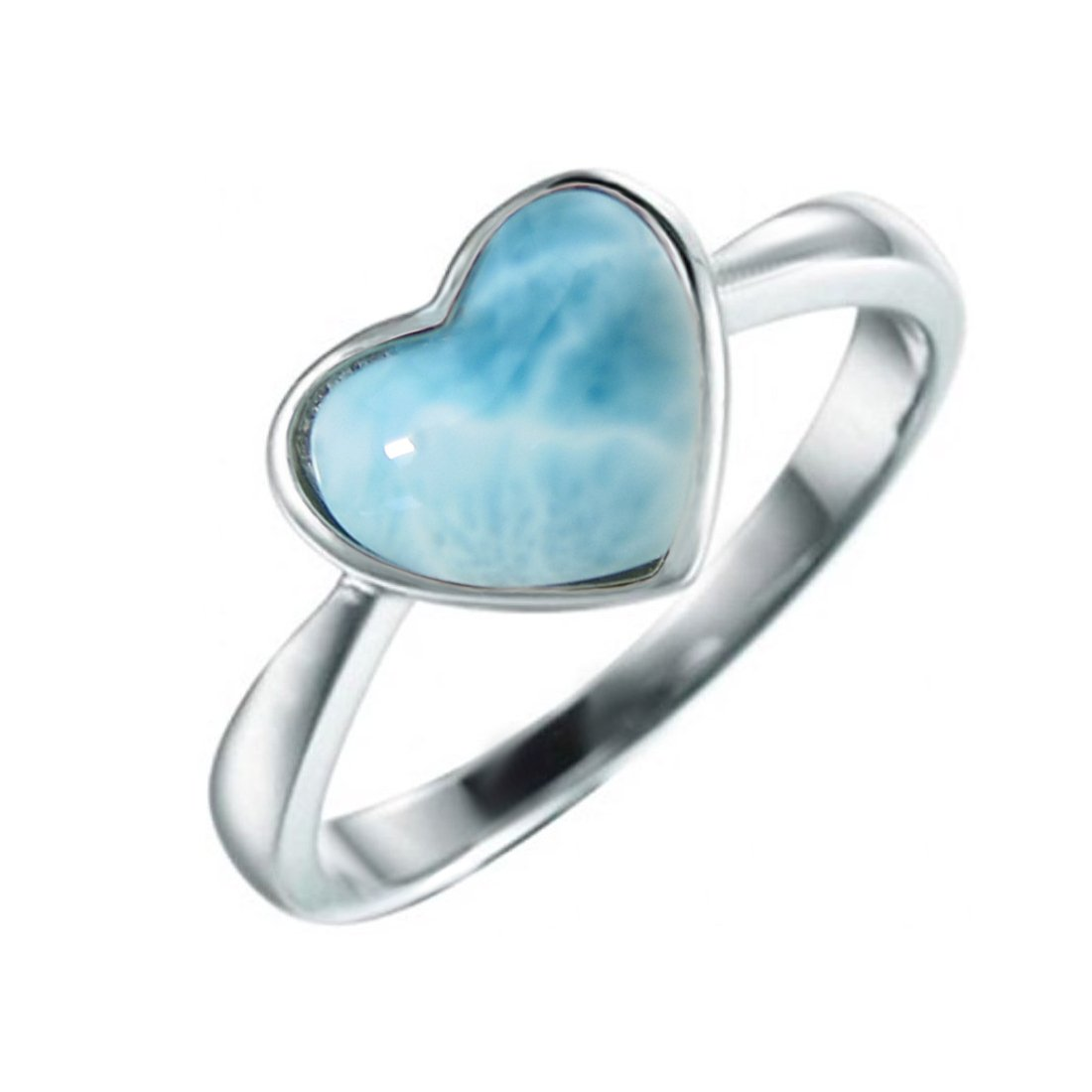 Size 8 Sterling Silver 925 Natural Larimar Heart Ring