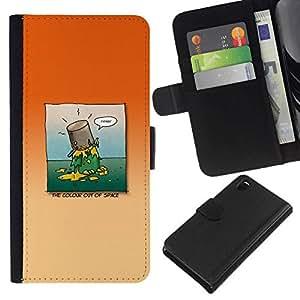 All Phone Most Case / Oferta Especial Cáscara Funda de cuero Monedero Cubierta de proteccion Caso / Wallet Case for Sony Xperia Z3 D6603 // Paint on head
