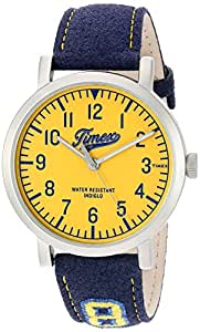 Timex 'Originals University' Quartz Brass and Leather Casual Watch, Color:Blue (Model: TW2P83400ZA)