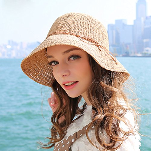RIONA Women's Summer Hand-Woven Foldable Wide Brim Fisherman 100% Raffia Straw Sun Hat - http://coolthings.us