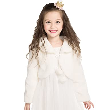 e31a08a5b5 Girls Bolero White Flower Girls Fur Shrug Kids Faux Fur Shawl Party Cardigan  Warm Jacket Wedding