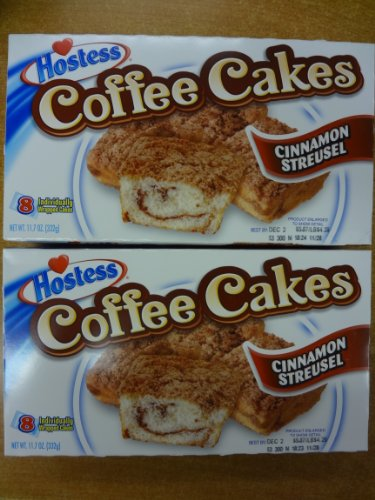 hostess coffee cake hostess coffee cakes cinnamon streusel 2 boxes 16 cakes 4852
