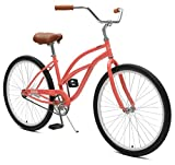 Critical CyclesChatham Beach Womens' Cruiser Bike Coral, 26' inch steel frame, 1 speed single-speed bike with coaster brakes and kickstand wide tires, cushiony wide saddle, and soft foam grips
