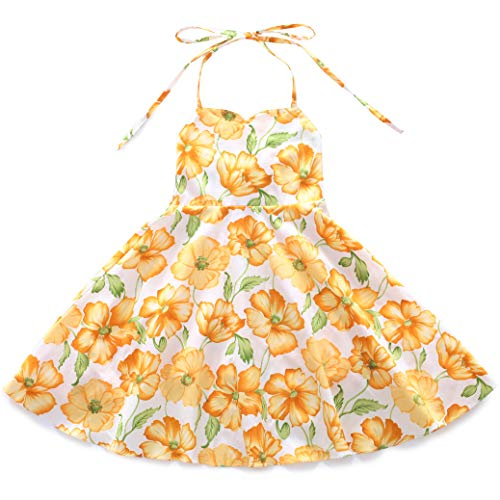 Flofallzique Vintage Floral Yellow Girls Easter Dress Wedding Party Beach Backless Sundress(4, Yellow Flower)