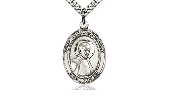 Choose Chain Heartland Engravable Mens Sterling Silver Saint Edmund Campion Oval Medal Customize