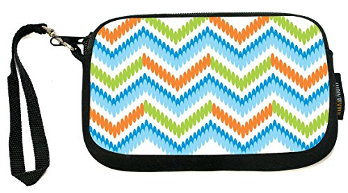 UKBK Blue, Orange, Green Connected Circle Zig-Zag Neoprene Clutch Wristlet with Safety Closure - Ideal case for Camera, Universal Cell Phone Case etc.. (Circle Wristlet)