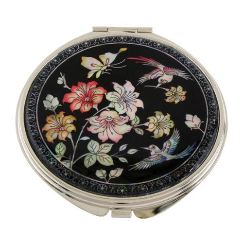Mother of Pearl Red Pink Cherry Flower Design Double Compact Magnifying Cosmetic Makeup Purse Beauty Pocket Mirror
