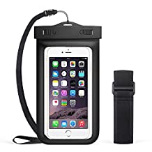 "QIANXIANG Universal Premium Waterproof Phone Case,Cell Phone Dry Bag Pouch with Armband and Neck Strap for iPhone 7 Plus,6S Plus,7,6S,6,5S,Samsung Galaxy S6,Note 5,4,HTC,Sony Nokia Motorola 5.5"" diagonal【Black】"