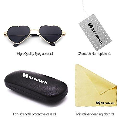 Femmes Coeur Forme Gris Lentille Cadre UV400 Retro Or Les Soleil pour de En Mode XFentech Lunettes Gradient Couleur wOFBggq
