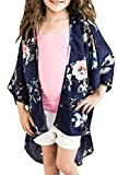 PASLTER Baby Girls Floral Print Chiffon Kimono Cardigan Short Sleeve Cover Up Summer Coat