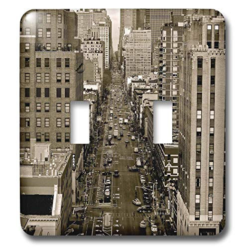 3dRose Stamp City - architecture - Sepia photograph of 8th Avenue and Horatio Street in New York, NY. - Light Switch Covers - double toggle switch (lsp_291266_2) (Avenue Photograph)
