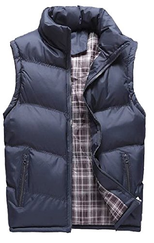Tootless Men Open Front Breathable Fall Winter Plus Size Jacket Vest Dark Blue L