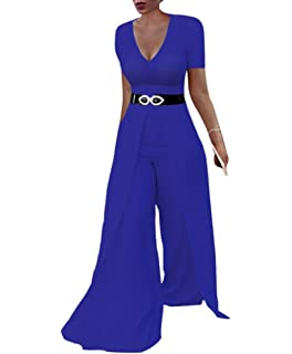 fa7bedecb305 Women s Short Sleeve Wide Leg Jumpsuits High Waisted Flare Palazzo Pants  Suit