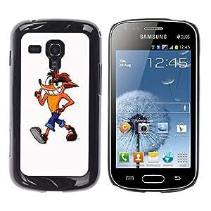 TECHCASE**Cubierta de la caja de protección la piel dura para el ** Samsung Galaxy S Duos S7562 ** Fox Cartoon Character Drawing Childrens Art