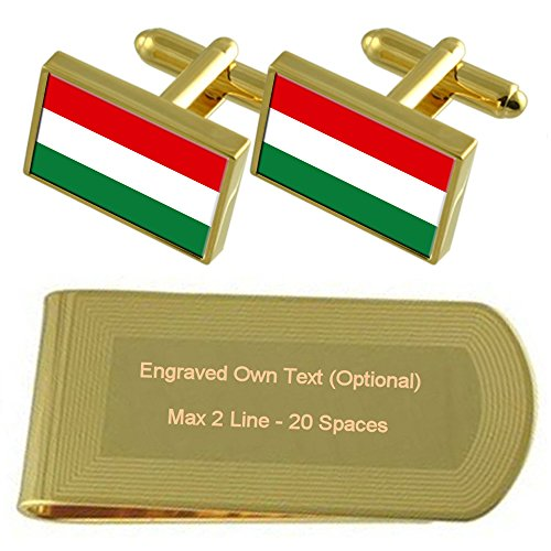 Money Engraved Gift Hungary Gold Clip Cufflinks Flag tone Set RTAwIw6zq