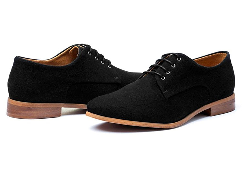 Ahimsa Women's Derby Vegan Shoes in Black B01LZ09KUG 7 B(M) US