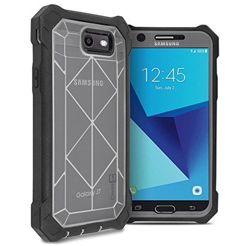 - Galaxy J7 V Case, Galaxy J7 Sky Pro Case, Galaxy J7 Perx Case, Galaxy J7 2017 Case, CoverON Series VitaCase Full Body Protective Heavy Duty Phone Cover with Faceplate - Clear