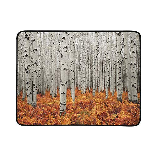YSWPNA Autumn Tree Forest American Aspens Populus Tremulo Pattern Portable and Foldable Blanket Mat 60x78 Inch Handy Mat for Camping Picnic Beach Indoor Outdoor Travel