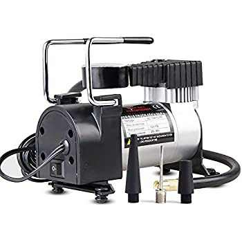 mieres On-Board Air Compressor Pump, 150 PSI 12V Electric Portable Digital Inflator with Extra Nozzle Adaptors and Fuse for Car Bike Tires and Other ...