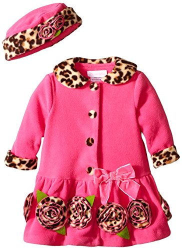 - Baby Girls Leopard Trim Rosette Border Fleece Coat/Hat Set (0/3M, Fuchsia)