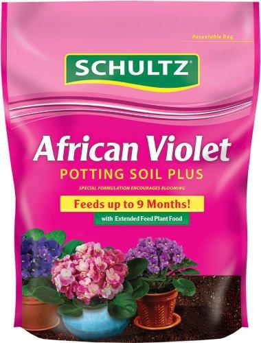 SCHULTZ African Violet Potting Soil Plus Plant Food, 0.12-0.09-0.07, 8-Quart
