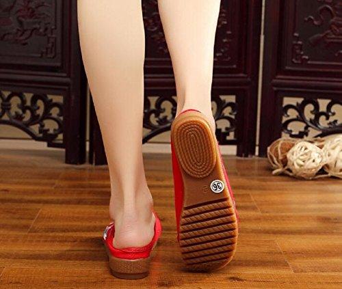 Mujer Lazutom De Zapatillas Casa Estar Para Por Lona Red TZqUgZr0wx