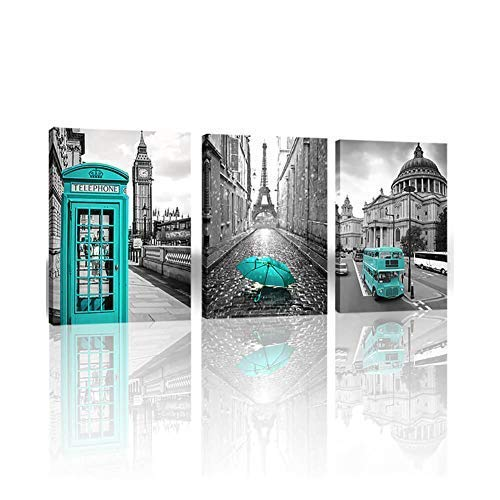 Paris Decor Wall Art for Bedroom London Big Ben Tower Canvas Prints Pictures for bedroom Black and White Morden Canvas Wall Art Painting Giclee Europe Buildings Picture Wall Decoration for Living Room