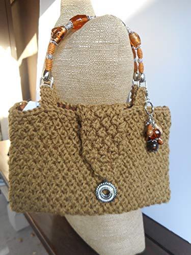 Hand Knit Handbag with Beaded Handle