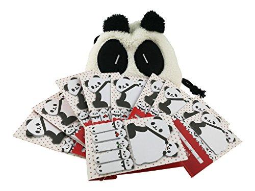 Panda Notepad - Set of 10 Panda Themed Sticky Note with A Storage Bag