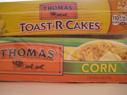 Thomas Toast-r-Cakes Corn Muffins, (1)- Package of 6 count & Thomas English Corn Muffins, (1)- Package of 6 count, Bundle! by Thomas'