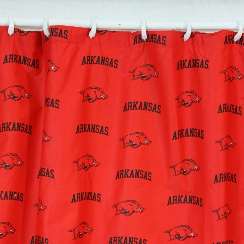 Arkansas Razorbacks Shower Curtain Cover Plus a Matching Window Curtain Valance - Save Big By Bundling!