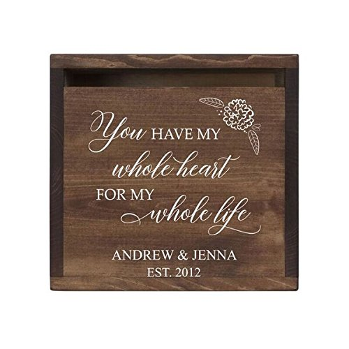 """LifeSong Milestones Personalized You Have My Whole Heart Rustic Wooden Wedding Card Box Custom Card Holder with Front Slot for NewlyWeds Couples Reception 13.5"""" L x 12"""" W x 12.5"""" T (Walnut)"""