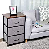 KINWELL Vertical Dresser Storage Tower Tall Bedside Table Narrow Dresser with Sturdy Steel Frame, Wooden Tabletop, Easy Pull Fabric Bins Organizer Unit for Child/Kids Bedroom Nursery-3Drawers