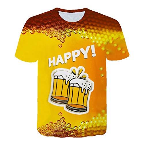 Men's Summer Top 3D Beer Printed Short Sleeves