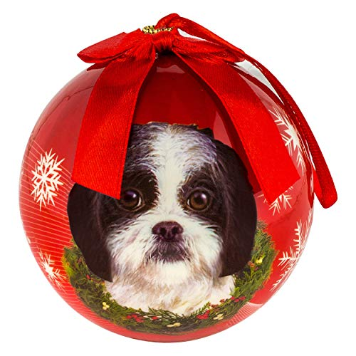 Christmas Ornaments Shih Tzu Puppy Pet Design Tree Balls 3in Newith Year Round Ball Decoration Xmas Collection Gift Memorial