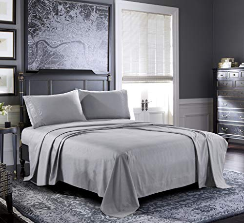 Bed Sheets - Twin Sheet Set [4-Piece, Light Grey] - Hotel Luxury 1800 Brushed Microfiber - Soft and Breathable - Deep Pocket Fitted Sheet, Flat Sheet, Pillow Cases