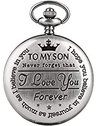 "Retro Pocket Watch, Engraved Pocket Watch, Quartz Analog Dial""to My Son I Love You"" Boy'sPocket Watch, Xmas Gift Steampunk Clock"