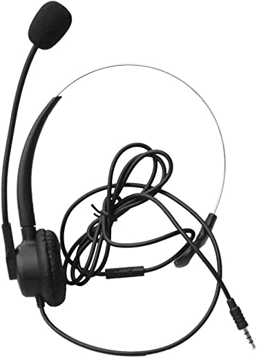 Comdio Wired Mono 3.5mm Cell Phone Headsets with Noise Canceling Mic Adjustable Headhand Work for iPhone LG BlackBerry Samsung Mobile Phone and Most Android Phones with 3.5mm Headset Jack CH103-35M