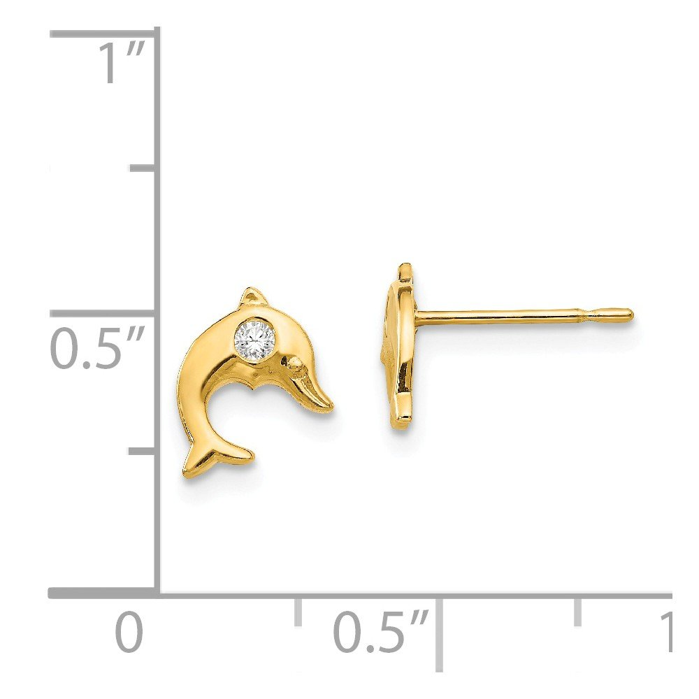 14K Yellow Gold Madi K Childrens 7 MM CZ Dolphin Post Stud Earrings