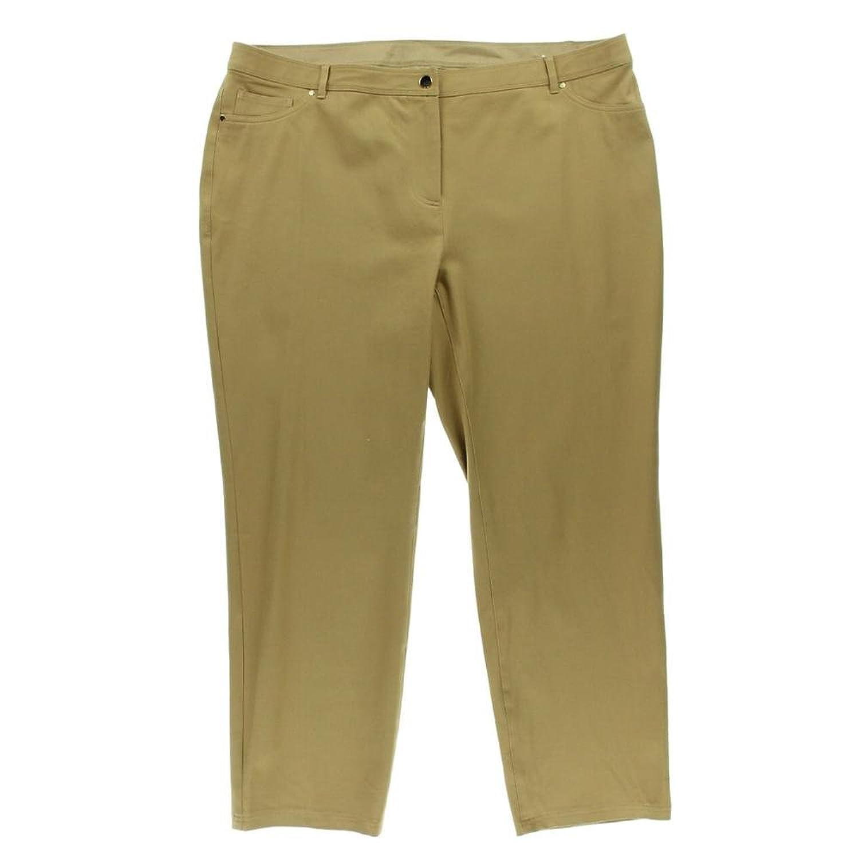 Charter Club Women's Plus Comfort Waist Slim Leg Pants 14w Warm Toffee