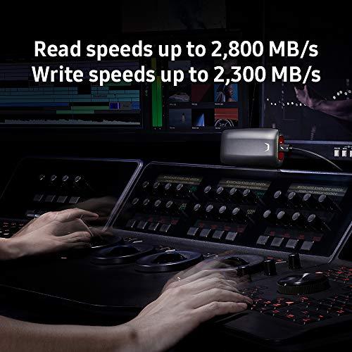 Samsung X5 Portable SSD - 1TB - Thunderbolt 3 External SSD (MU-PB1T0B/AM) Gray/Red