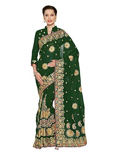 Wedding Bridal Saree Mirchi Fashion Designer Sari Women Party Wear (3795_Green)