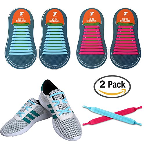 No Tie Shoelaces for Kids and Adults, YUANFENG Tieless Elastic Silicone Waterproof Flat Athletic Running Shoe Laces (Adult Size-Sky Blue+Pink) (2 Adult Shoes Athletic)