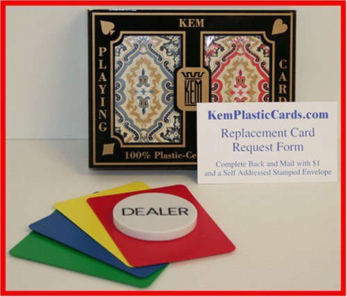 Kem Paisley Bridge Size Jumbo Index 100% Plastic Playing Cards with Free Dealer Button, 4 Free Cut Cards and Replacement Request Form