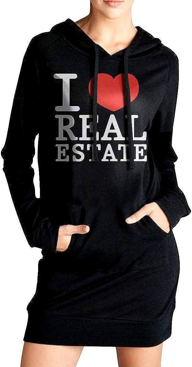 Womens Casual Sweatshirt Long Hoodie Dress I Love Real Estate Coat with Kanga Pocket