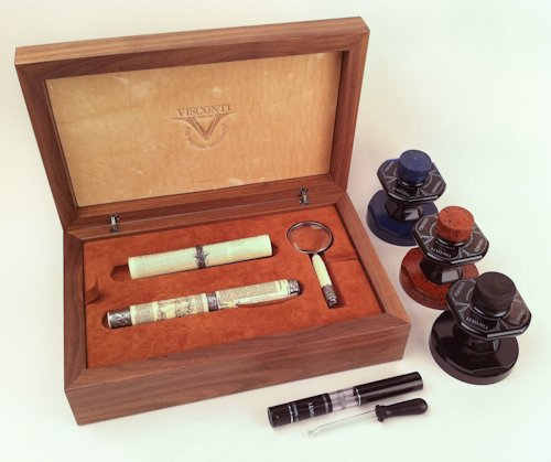 Visconti Fountain Pen Declaration of Independence Sterling Silver Trim Bundle Fine Point