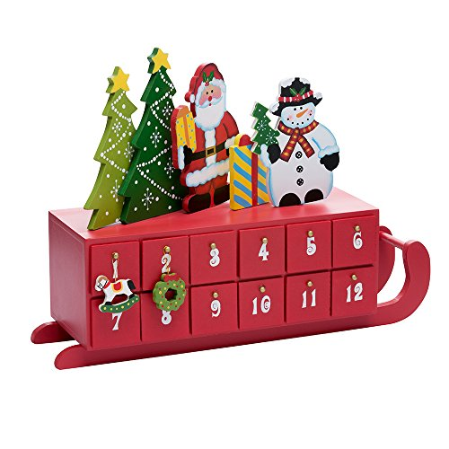 Kurt Adler Wooden Sleigh Shaped Advent Calendar, 14-Inch by Kurt Adler