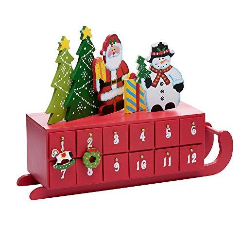 (Kurt Adler Wooden Sleigh Shaped Advent Calendar, 14-Inch)