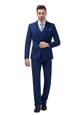 SweetFaterk Men\'s Three-Piece Suit Groom Modern Wedding Suit Formal ...