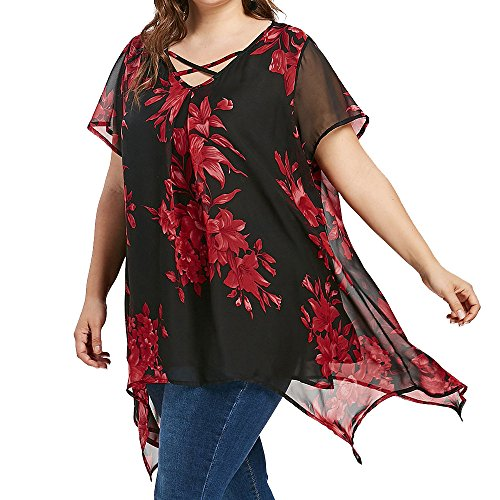 Women Blouses for Work GREFER Vintage Floral Printed Criss Cross Chiffon T Shirt Short Sleeve Tops Double Layer Plus Size Red